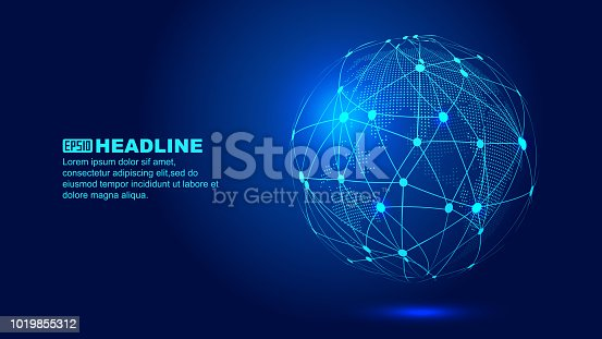 Digital earth, dot line combination of global network technology abstract vector background