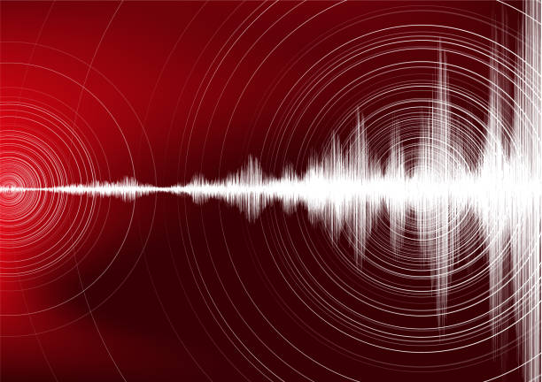Digital Earthquake Wave with Circle Vibration on Dark Red background,audio wave diagram concept,design for education and science,Vector Illustration. Digital Earthquake Wave with Circle Vibration on Dark Red background,audio wave diagram concept,design for education and science,Vector Illustration. earthquake stock illustrations