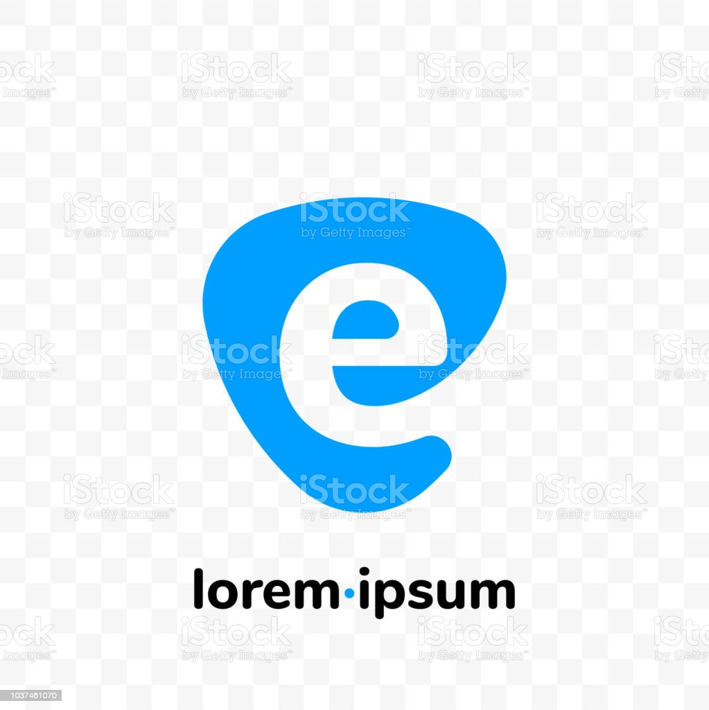 E Digital Email At Sign Vector Logo Of Letter E Icon For ...