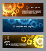 Digital engineering banner set. Teamwork or technology construction banners with gears. Template of industrial flyer and card. Vector illustration