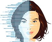 vector eps8 file of face digital process