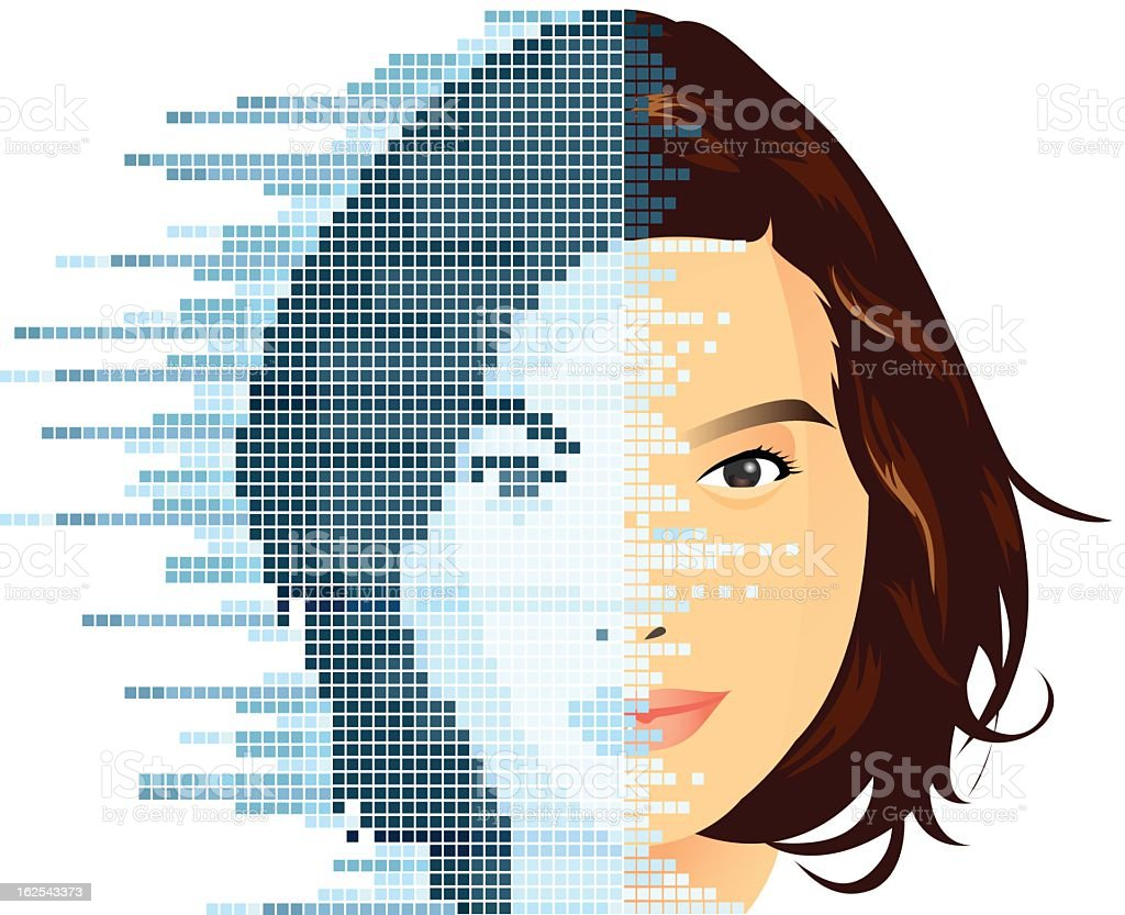 digital face vector art illustration