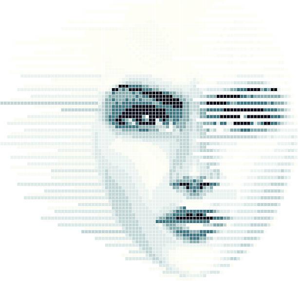 illustrazioni stock, clip art, cartoni animati e icone di tendenza di digitale faccia - donna si nasconde