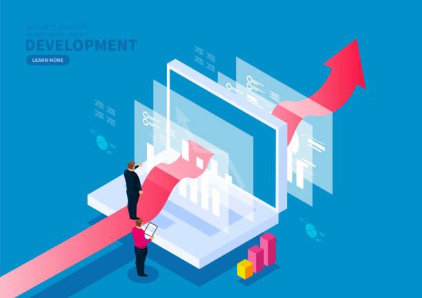 illustrazioni stock, clip art, cartoni animati e icone di tendenza di digital finance business development and service concept - guida turistica professione