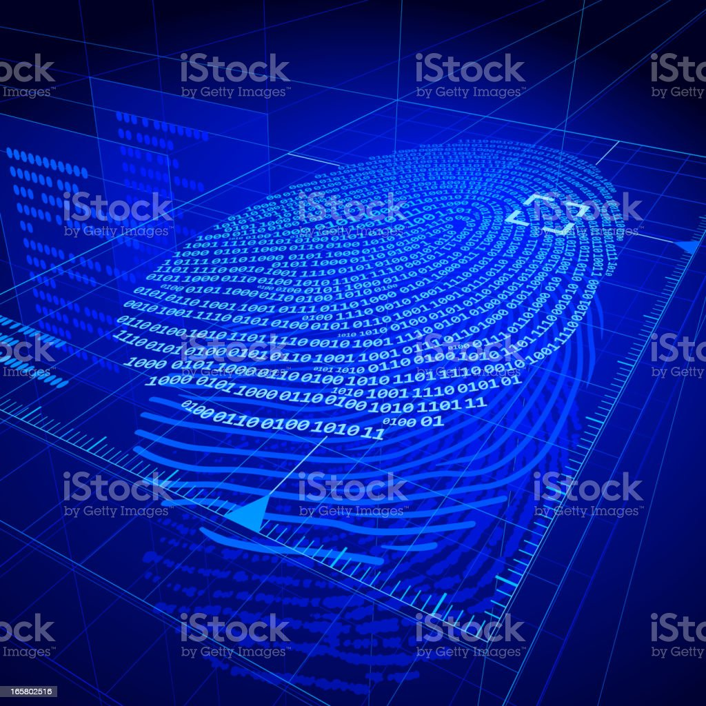 Digital fingerprint composed of numbers in shades of blue vector art illustration