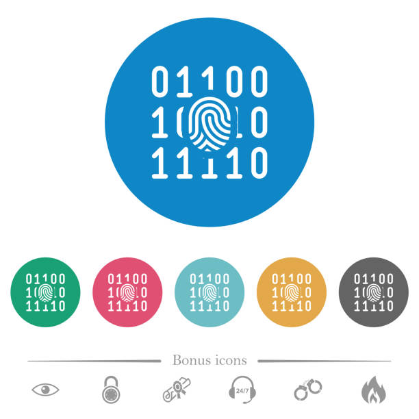 ilustrações de stock, clip art, desenhos animados e ícones de digital fingerprint flat round icons - going inside eye