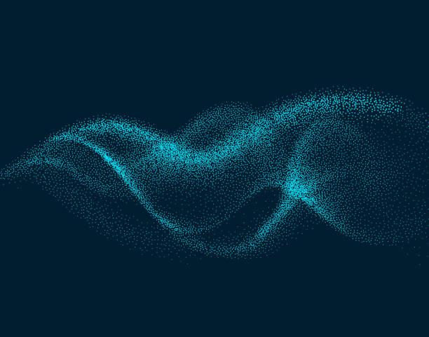 數位流波與粒子在運動中。抽象煙霧效果背景 - 粒子 幅插畫檔、美工圖案、卡通及圖標
