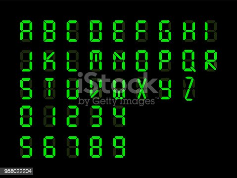 Digital font. Alarm clock letters and number isolated on black background. Vector illustration. Eps 10.