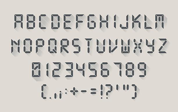 Digital font in a flat design vector art illustration