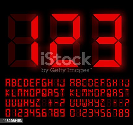 Digital Liquid Crystal  Display Font Bright Red Colored. Vector set