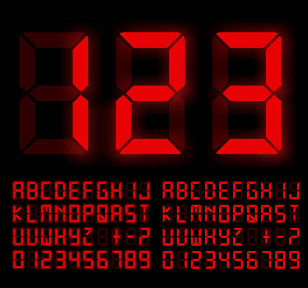 Digital Font Digital Liquid Crystal  Display Font Bright Red Colored. Vector set liquid crystal display stock illustrations