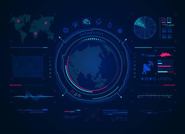 digital forecast - radar stock illustrations