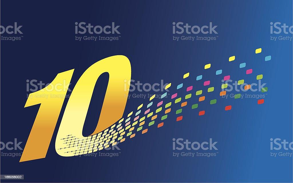 Digital Formation Number Ten vector art illustration