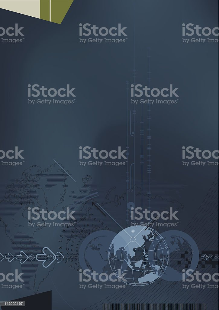 Digital fusion - conceptual illustration of online business and communications. royalty-free stock vector art