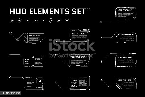 HUD digital futuristic callout title set. Call out sci fi frame bar labels. Presentation or infographic modern digital info box layout template. Interface HUD UI GUI style element. Vector illustration