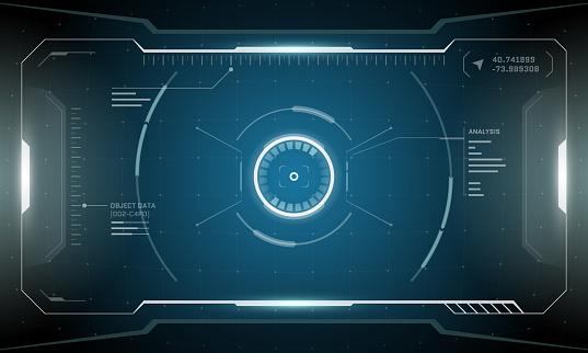 VR HUD digital futuristic interface cyberpunk screen design. Sci-fi virtual reality technology view head up display. Digital technology GUI UI dashboard vector illustration