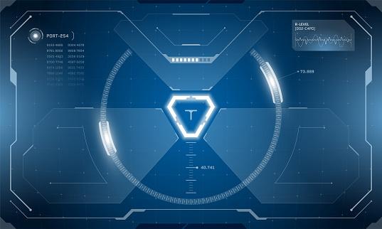VR HUD digital futuristic interface cyberpunk screen design. Sci-fi virtual reality technology view head up display. Digital technology GUI UI dashboard panel vector illustration
