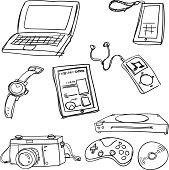 Sketch Drawing of digital gadgets in black and white