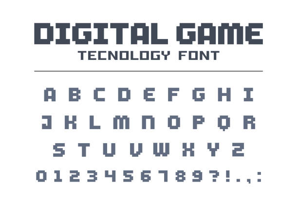 Digital game technology font. Retro letters and numbers for video, computer, mobile app logo design. Pixel art, 8 bit electronic entertainment vector typeface vector art illustration