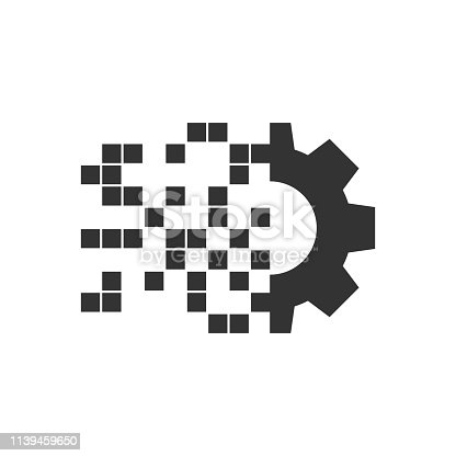Digital gear icon in flat style. Cog vector illustration on white isolated background. Techno wheel business concept.