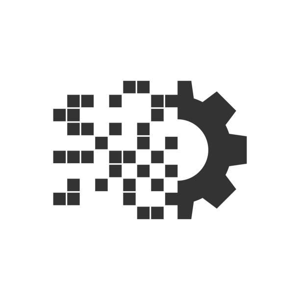 평면 스타일의 디지털 기어 아이콘입니다. 흰색 고립 된 배경에 cog 벡터 일러스트 레이 션. 테크노 휠 비즈니스 컨셉. - 컴퓨터 그래픽 stock illustrations