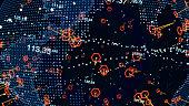 istock Digital globe, Technology hologram sphere. Futuristic abstract digital background. Vector stock illustration 1251195244