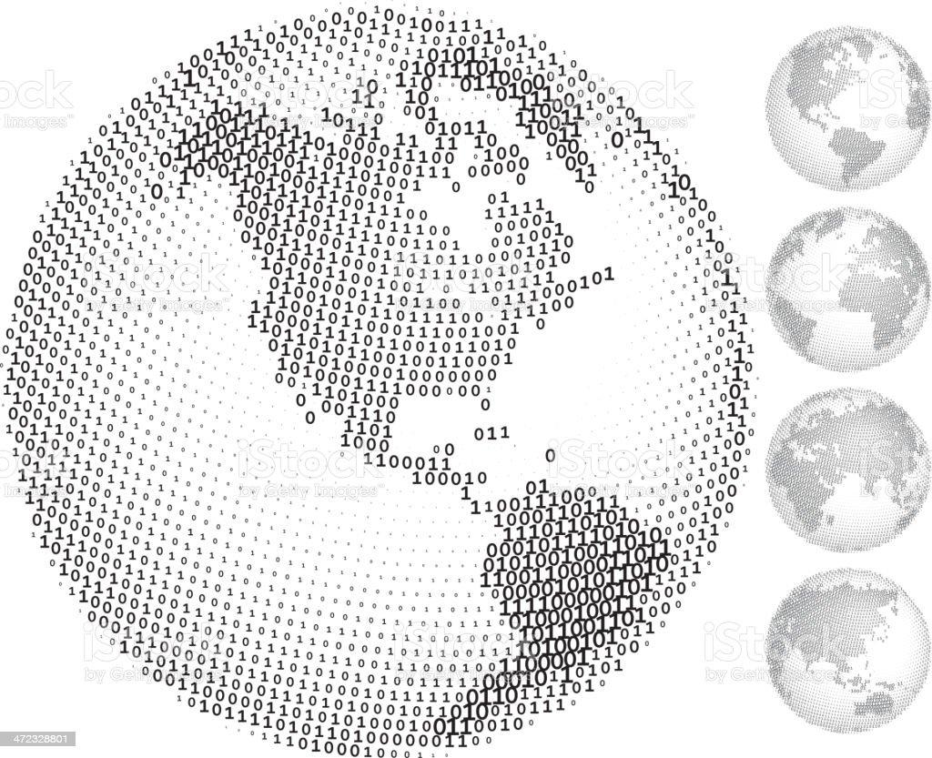 Digital globes vector art illustration