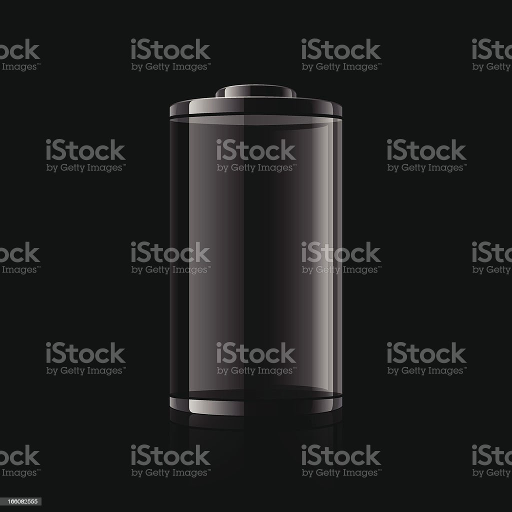 Digital graphic of a black battery on a black background vector art illustration