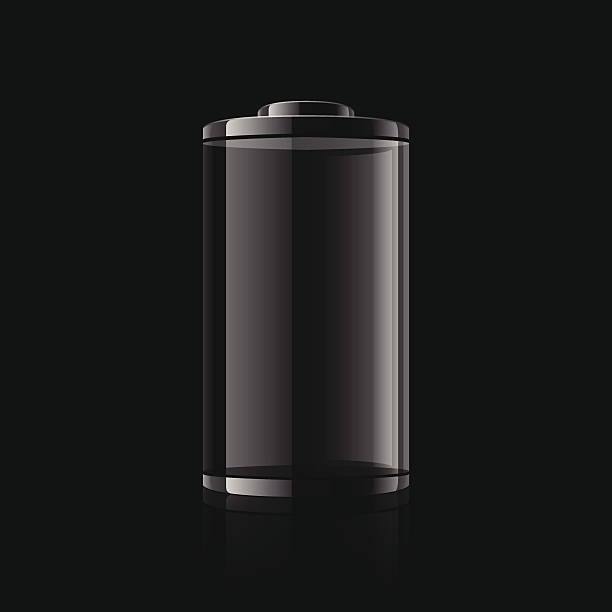 Digital graphic of a black battery on a black background Empty battery. cylinder stock illustrations
