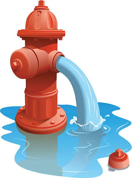 Digital graphic of an open fire hydrant gushing water vector art illustration