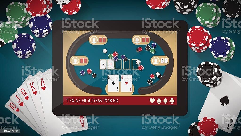 Digital graphic of Texas hold 'em poker vector art illustration