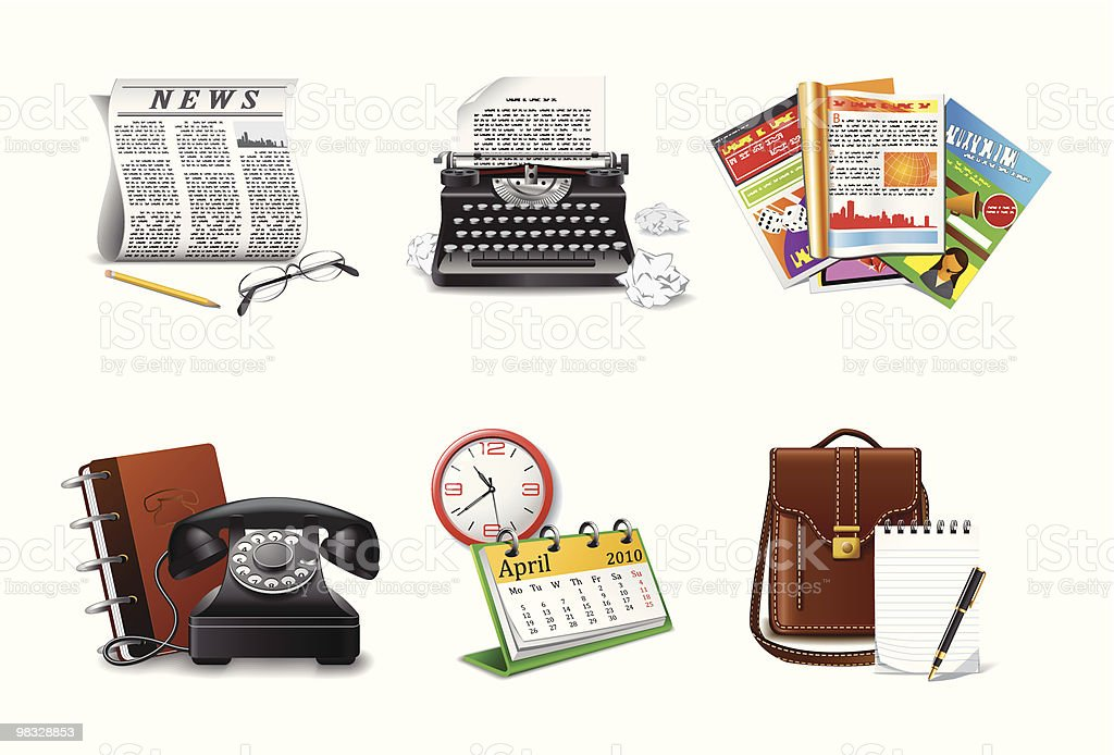 Digital graphics of journalism and communication symbols royalty-free digital graphics of journalism and communication symbols stock vector art & more images of article