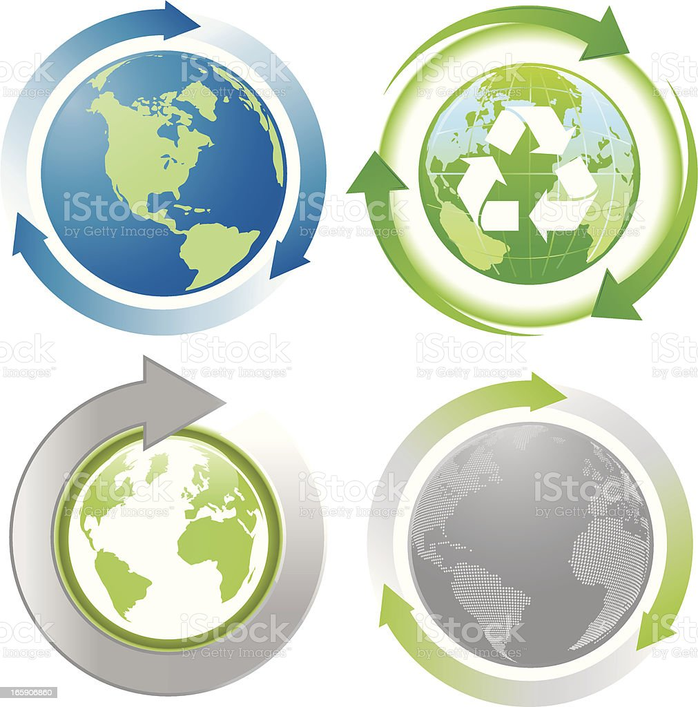 Digital green world map with recycling arrow symbol stock vector art digital green world map with recycling arrow symbol royalty free digital green world map with gumiabroncs Gallery