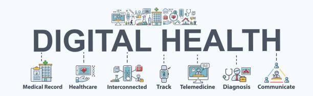 數位健康橫幅網狀圖標,用於醫療保健和電子健康、醫療記錄、互聯、遠端醫療、線上藥房、跟蹤、可穿戴和設備感應器。平面向量資訊圖。 - 健康科技 幅插畫檔、美工圖案、卡通及圖標