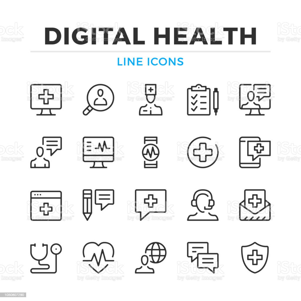 Digital health line icons set. Modern outline elements, graphic design concepts. Stroke, linear style. Simple symbols collection. Vector line icons royalty-free digital health line icons set modern outline elements graphic design concepts stroke linear style simple symbols collection vector line icons stock illustration - download image now