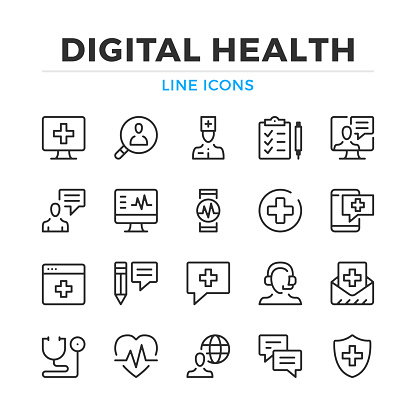 Digital health line icons set. Modern outline elements, graphic design concepts. Stroke, linear style. Simple symbols collection. Vector line icons clipart
