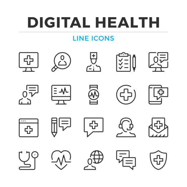 Digital health line icons set. Modern outline elements, graphic design concepts. Stroke, linear style. Simple symbols collection. Vector line icons Digital health line icons set. Modern outline elements, graphic design concepts. Stroke, linear style. Simple symbols collection. Vector line icons conceptual symbol stock illustrations