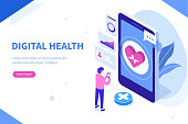 Digital health concept. Can use for web banner, infographics, hero images. Flat isometric vector illustration isolated on white background.