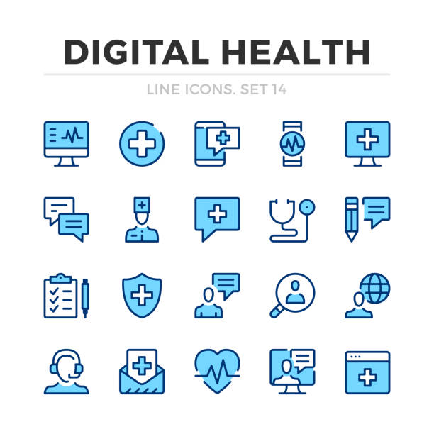 Digital health vector line icons set. Thin line design. Outline graphic elements, simple stroke symbols. Digital health icons Digital health vector line icons set. Thin line design. Outline graphic elements, simple stroke symbols. Digital health icons medical technical equipment stock illustrations