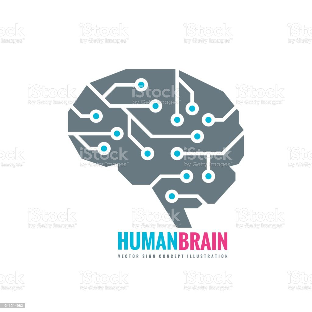 Digital human brain - vector logo concept illustration. Mind sign. vector art illustration