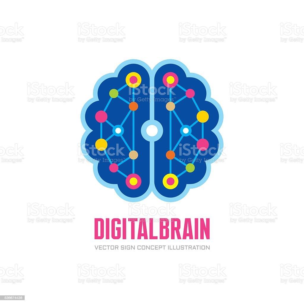 Digital human brain - vector sign concept illustration vector art illustration