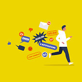 Digital hygiene. Stress. Male Character running away from the pop up notifications. Modern lifestyle. Overwhelming flow of information. Flat editable vector illustration, clip art
