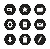 Digital icons set. Black