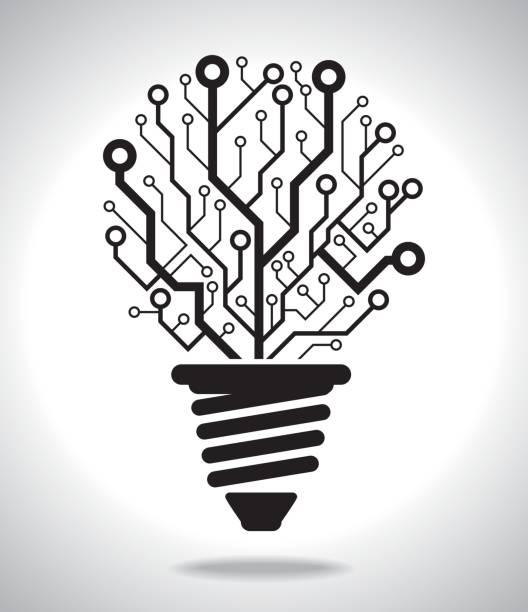 digital idea lamp - electronics stock illustrations, clip art, cartoons, & icons