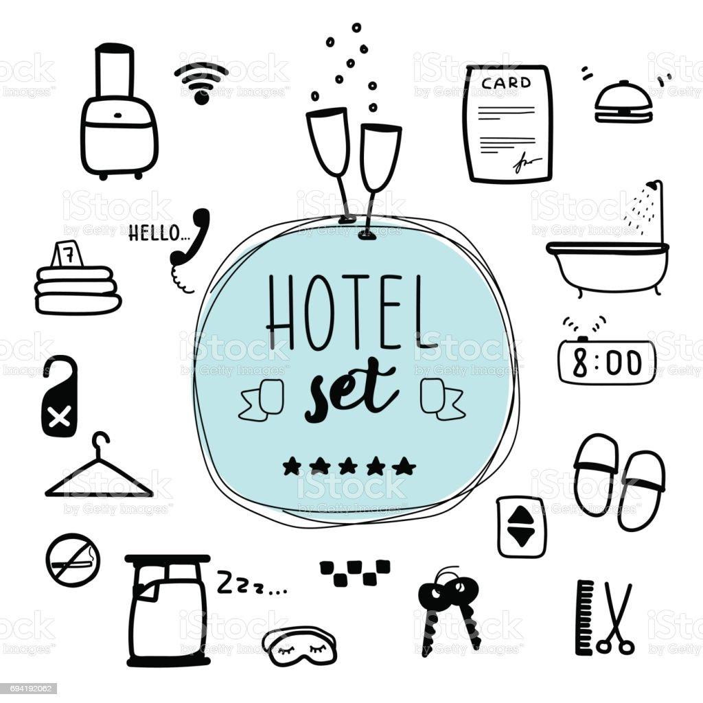Ilustración digital, sistema de vector del hotel. - ilustración de arte vectorial