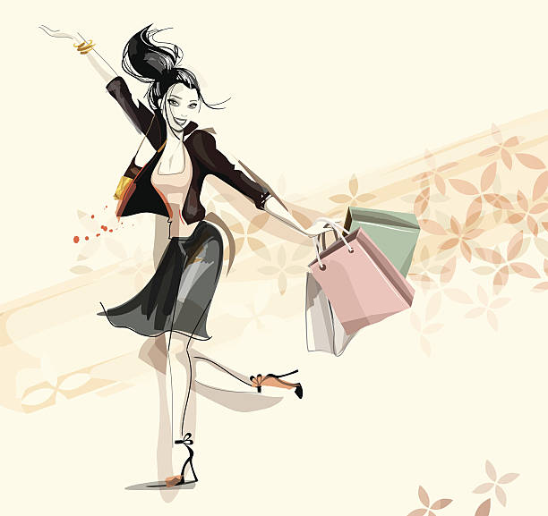 digital illustration of a happy woman shopping - shoes fashion stock illustrations, clip art, cartoons, & icons