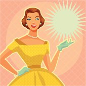 Digital illustration of a lady with vintage yellow dress