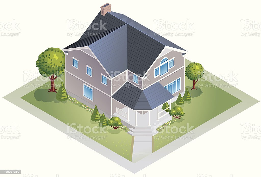 Digital illustration of a new house in 3D royalty-free digital illustration of a new house in 3d stock vector art & more images of brown