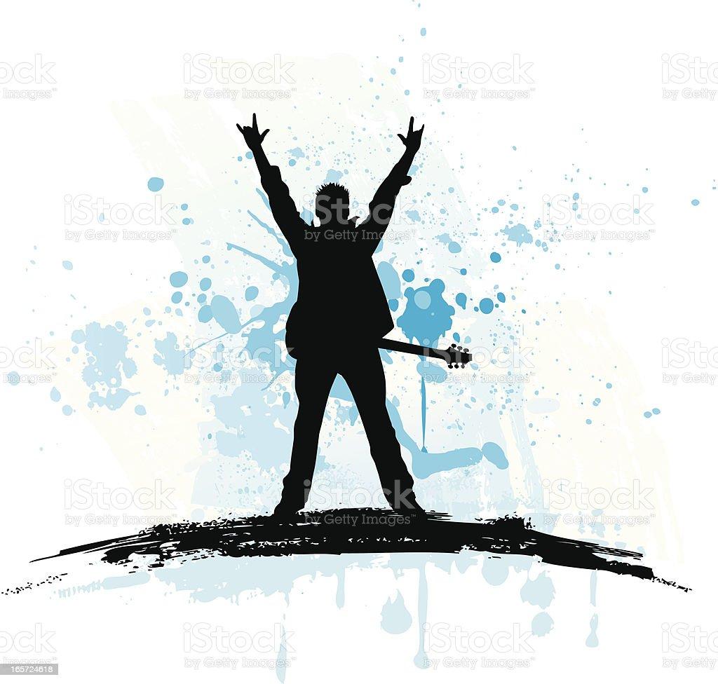Digital illustration of a rock star silhouette  vector art illustration