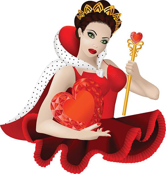 Digital illustration of a woman with queen of hearts attire Vector illustration of beautiful woman with sceptre and crow: she is queen of hearts ermine stock illustrations